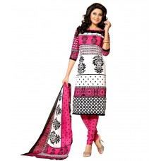 Deals, Discounts & Offers on Women Clothing - Drapes White & Pink Cotton Printed Dress Material