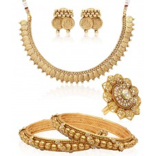 Deals, Discounts & Offers on Women - Jewels Galaxy Combo Of Golden Alloy Bangle Set And Necklace Set