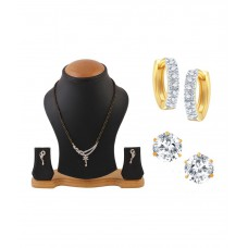 Deals, Discounts & Offers on Women - YouBella American Diamond Mangalsutra Set with AD Studs and Bali- Combo of 3