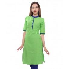 Deals, Discounts & Offers on Women Clothing - Stylum Green Cotton Straight Kurti