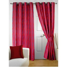 Deals, Discounts & Offers on Home Decor & Festive Needs - Story @ Home Polyester Maroon Printed Eyelet Door Curtain