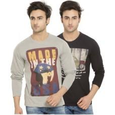 Deals, Discounts & Offers on Men Clothing - Alan Jones Printed Men's Round Neck Grey, Black T-Shirt