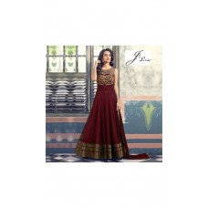 Deals, Discounts & Offers on Women Clothing - Lexon Collection Maroon Georgette Anarkali Gown Semi Stitched