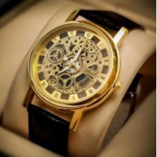 Deals, Discounts & Offers on Men - Brown Strap Golden Dial Skeleton Watch