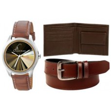 Deals, Discounts & Offers on Men - Combo Of Jack Klein Graphic Watch And Leather Belt With Leather Wallet