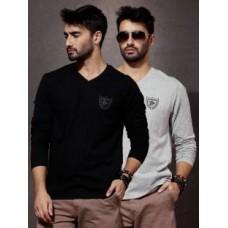 Deals, Discounts & Offers on Men Clothing - Roadster Solid Men's V-neck Black T-Shirt