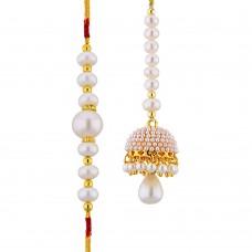 Deals, Discounts & Offers on Women - Sri Jagdamba Pearls Enchanting Pearl Rakhi With Lumba