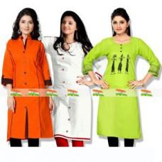 Deals, Discounts & Offers on Women Clothing - Shopeezo Latest Collection  Cotton Semi-stiched Kurti Tiranga
