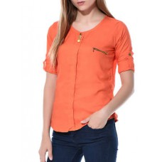 Deals, Discounts & Offers on Women Clothing - Orange solid cotton top