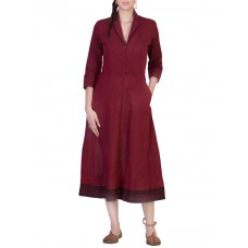 Deals, Discounts & Offers on Women Clothing - Maroon quarter sleeved cotton flared dress