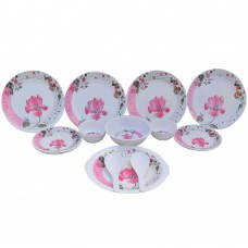 Deals, Discounts & Offers on Home & Kitchen - Czar Lifestyles International Ltd White & Pink Melamine 16 Pcs Dinner Set
