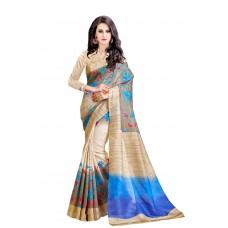 Deals, Discounts & Offers on Women Clothing - Trendz Printed Cotton Silk Brown Saree