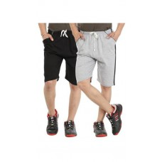 Deals, Discounts & Offers on Men Clothing - umber Black & Grey free Size Solid Shorts