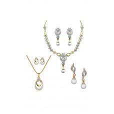 Deals, Discounts & Offers on Women - Dg Jewels Collection of 1 Necklace Set, 1 Pendant Set & 1 Earring-DGPSCombo033