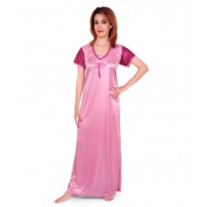 Deals, Discounts & Offers on Women Clothing - Fabme Pink Satin Nighty Gown