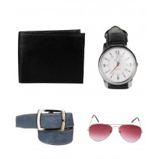 Deals, Discounts & Offers on Accessories - Lenin Combo of Genuine Leather Wallet, Belt, Sunglass & A Wrist Watch