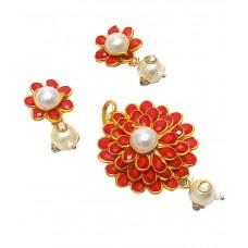 Deals, Discounts & Offers on Women - Sagun Art & Jewellers Red Pacchi Pendant