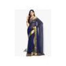 Deals, Discounts & Offers on Women Clothing - Meena Bazaar Plain Woven Navy Blue Chiffon Woven Saree