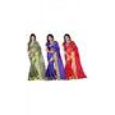 Deals, Discounts & Offers on Women Clothing - Combo Of 3 Stylish Silk Green, Purple And Red Saree