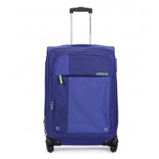 Deals, Discounts & Offers on Accessories - American Tourister Medium (Between 61 Cm-69Cm) 4 Wheel Soft Blue Hugo Luggage Trolley