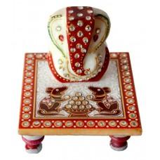 Deals, Discounts & Offers on Home Decor & Festive Needs - Sajawat Bazaar Traditional Makrana Marble Lord Ganesha And 1 Piece Of Chowki Ganesh