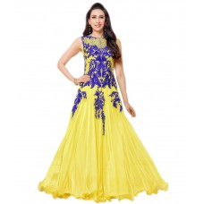 Deals, Discounts & Offers on Women Clothing - Flazors Yellow Georgette Anarkali Gown Semi Stitched Dress Material