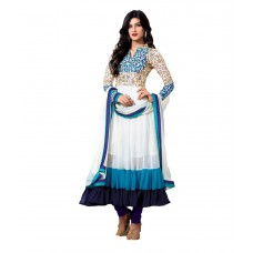 Deals, Discounts & Offers on Women Clothing - M Tex White Georgette Unstitched Dress Material