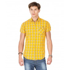 Deals, Discounts & Offers on Men Clothing - Mufti Orange Cotton Casual Shirt