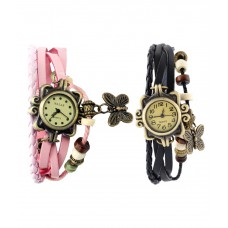 Deals, Discounts & Offers on Accessories - Pappi Boss Set of 2 Fancy Vintage Black & Pink Leather Bracelet Butterfly Watch for Girls & Women