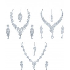 Deals, Discounts & Offers on Women - Sukkhi Pack of 3 Rhodium Plated AD Necklace Sets with Maang Tikas