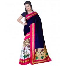 Deals, Discounts & Offers on Women Clothing - Sharda Creation Blue Bhagalpuri Silk Saree