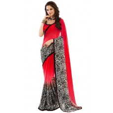 Deals, Discounts & Offers on Women Clothing - Jaanvi Fashion Red Chiffon Saree