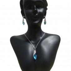 Deals, Discounts & Offers on Women - Crunchy Fashion Blue Tear Drop Pendant set