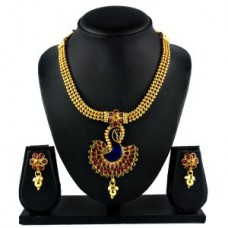 Deals, Discounts & Offers on Women - Denias Golden & Pink Imitation Fancy Earring & Necklace Set