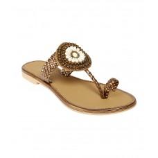 Deals, Discounts & Offers on Foot Wear - Jade Brown Faux Leather Flat Slip-On Sandal