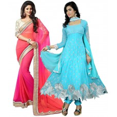 Deals, Discounts & Offers on Women Clothing - K.c. Multicolour Georgette Pack Of 2