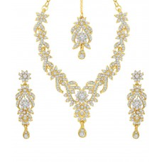 Deals, Discounts & Offers on Earings and Necklace - Sukkhi Golden Alloy Necklace Set With Maang Tika