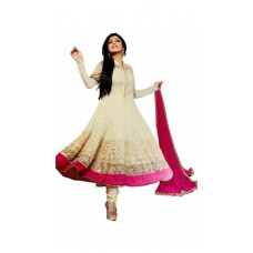Deals, Discounts & Offers on Women Clothing - STYLE AMAZE Cream Georgette Semi Stitched Suit