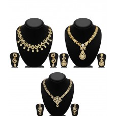 Deals, Discounts & Offers on Women - Sukkhi Zinc Gold Plated Australian Diamond Golden Necklace Set of 3