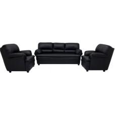 Deals, Discounts & Offers on Furniture - Woodpecker Leatherette 3 + 1 + 1 Black Sofa Set
