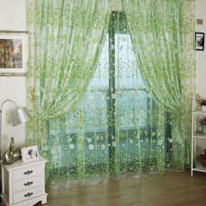 Deals, Discounts & Offers on Home Decor & Festive Needs - Green Country Flower Tulle Voile Window Curtain Panel Sheer Drapes