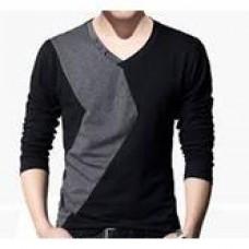 Deals, Discounts & Offers on Men Clothing - V- Neck Full Slleeve Black & Grey Zembo T-shirt