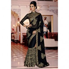 Deals, Discounts & Offers on Women Clothing - Magnificient Black Georgette Embroidered Saree
