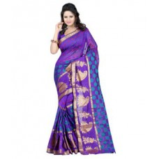 Deals, Discounts & Offers on Women Clothing - Ansu Fashion Blue Banarasi Silk Sarees