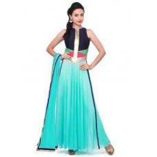 Deals, Discounts & Offers on Women Clothing - Styles Closet Sky Blue Georgette Anarkali Suit Bnd