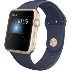 Deals, Discounts & Offers on Men - Apple Watch  Gold Aluminium Case with Sport Band MidnightBlue Smartwatch