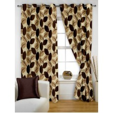 Deals, Discounts & Offers on Home Decor & Festive Needs - Story @ Home Polyester Brown Floral Eyelet Window Curtain