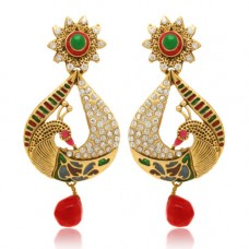 Deals, Discounts & Offers on Women - Traditional Ethnic Gold Plated Pear Peacock Dangler Earrings