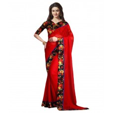 Deals, Discounts & Offers on Women Clothing - Dressy Red Georgette Saree