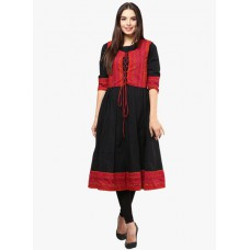 Deals, Discounts & Offers on Women Clothing - Nayo Black Solid Anarkali With Jacket